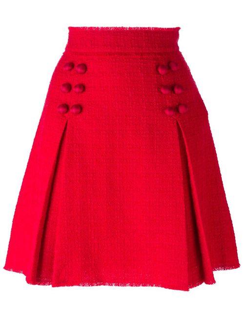 Dolce & Gabbana | Женская Красная Короткая Юбка Со Складками