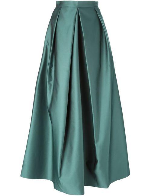 Yang Li | Женская Зелёная Плиссированная Длинная Юбка