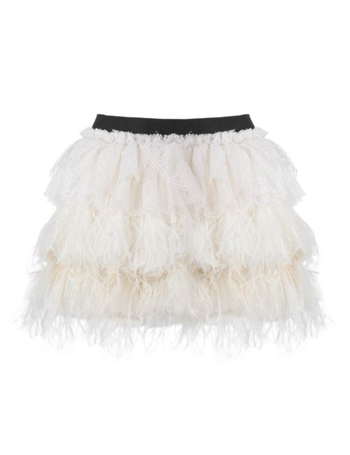 Faith Connexion | Женское Белый Ruffled Feather Short Skirt
