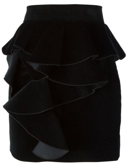 Balmain | Женская Чёрная Бархатная Юбка С Оборками