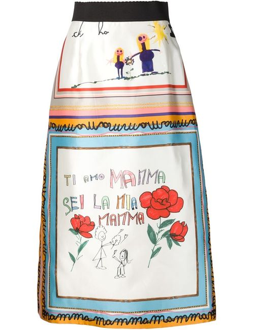 Dolce & Gabbana | Женское Белый Childs Drawing Printed Skirt