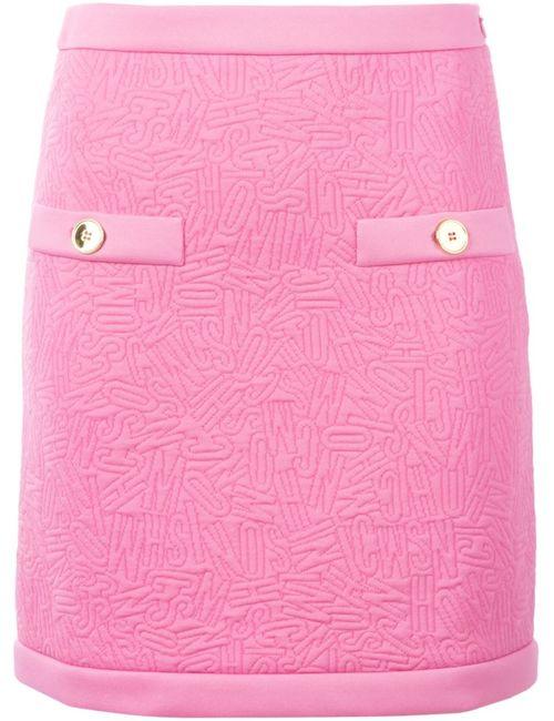 Moschino | Женская Розовая Мини-Юбка С Простроченными Логотипами
