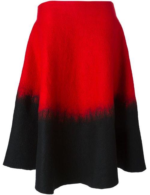 Sybilla | Женская Красная Расклешенная Юбка С Эффектом Градиент