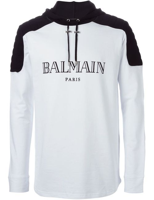 Balmain   Мужское Белый Logo Hoodie