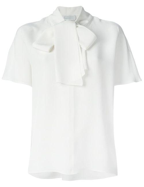 Gianluca Capannolo | Женская Белая Блузка С Завязкой На Мягкий Бант