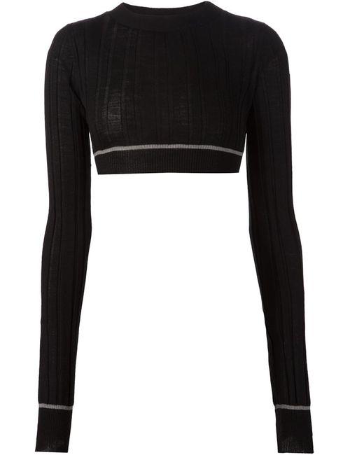 Vera Wang | Женское Черный Cropped Ribbed Sweater