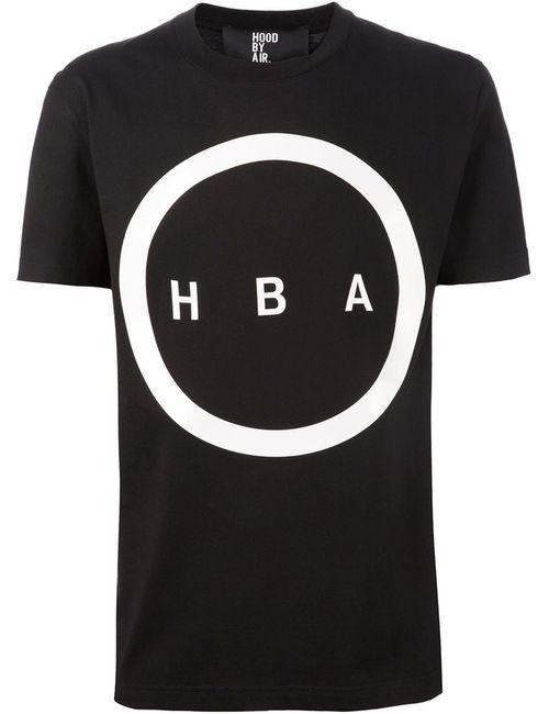 HOOD BY AIR | Женская Чёрная Футболка С Принтом Логотипа