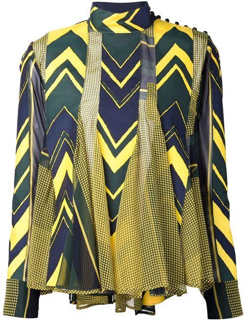 Sacai | Женская Жёлтая Блузка С Принтом И Панельным Дизайном