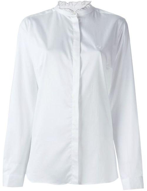 Fay | Женская Белая Рубашка С Рюшами На Воротнике