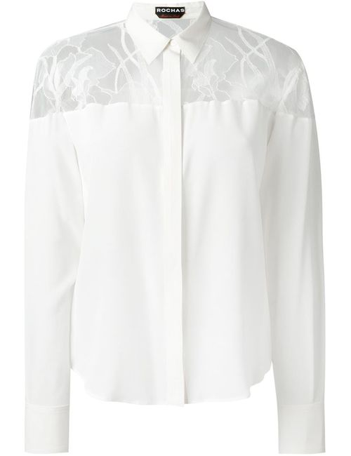 Rochas   Женская Белая Рубашка С Кружевным Нагрудником