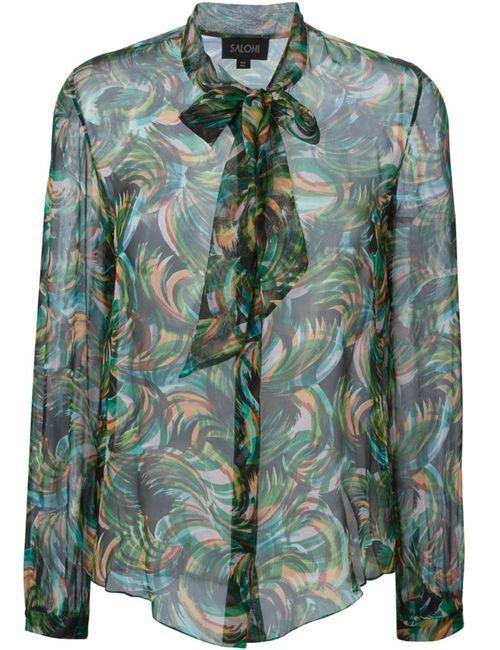 Saloni | Женская Зелёная Блузка Palmier
