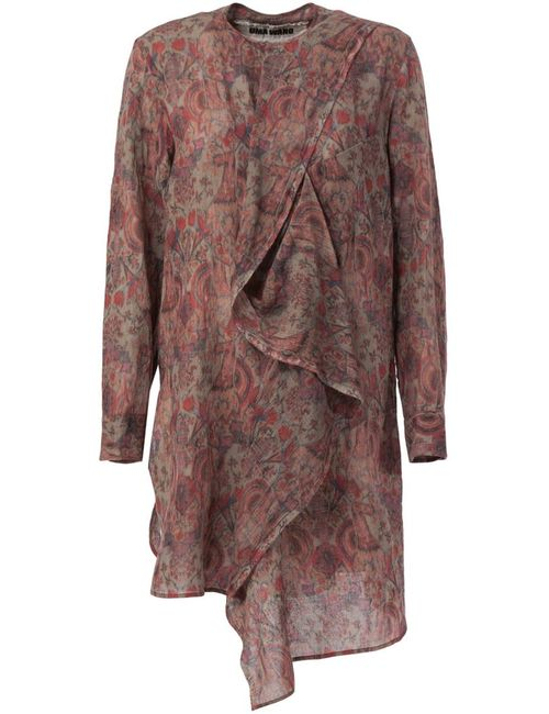 UMA WANG | Женское Красный Paisley Print Ruffle Detail Blouse
