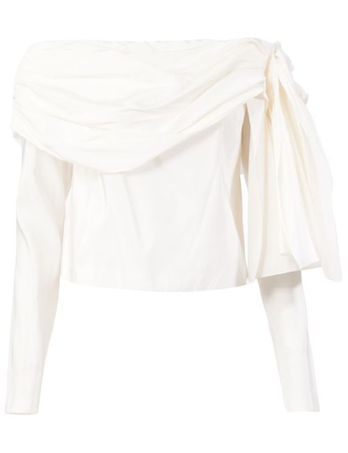 Rosie Assoulin | Женское Белый Drop Shoulder Draped Blouse