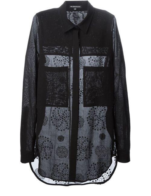 Ann Demeulemeester | Женская Чёрная Рубашка С Вышивкой Elgar