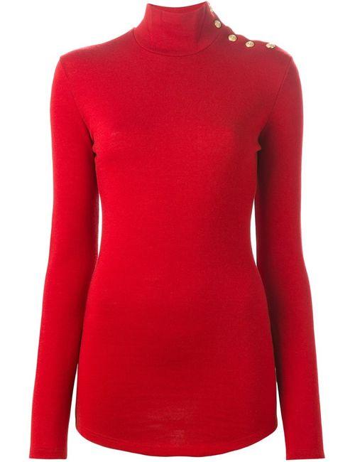 Balmain | Женский Красный Свитер С Высоким Горлышком