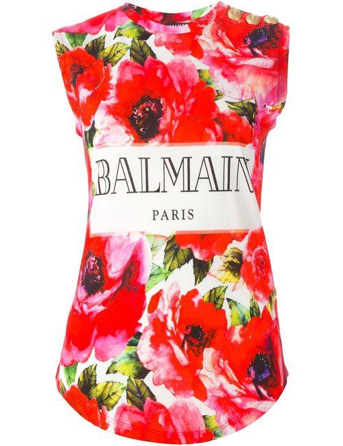 Balmain | Женская Розовая Майка С Цветочным Принтом