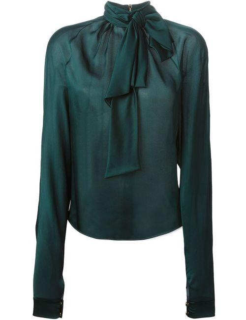 Balmain | Женская Зелёная Блузка С Бантом