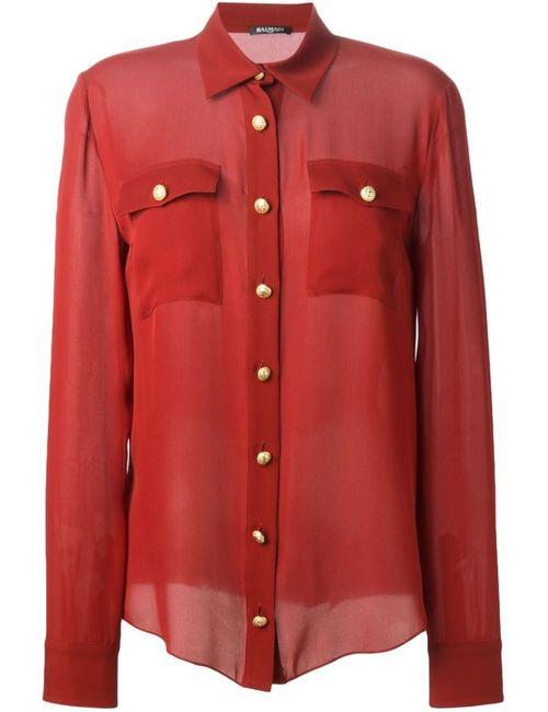 Balmain | Женская Красная Прозрачная Рубашка