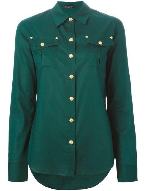 Balmain | Женская Зелёная Рубашка С Нагрудными Карманами
