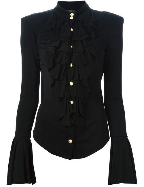 Balmain | Женская Чёрная Рубашка С Жабо