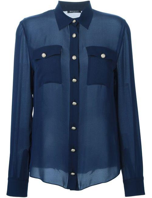 Balmain | Женская Синяя Прозрачная Рубашка