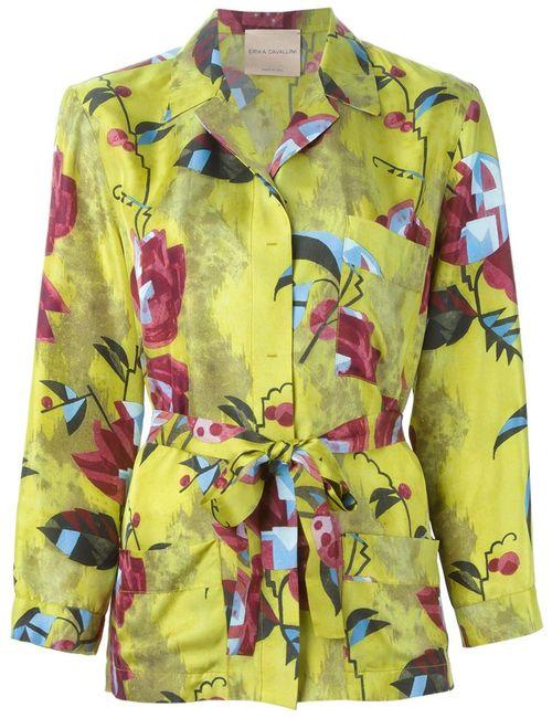 Erika Cavallini | Женская Зелёная Рубашка С Цветочным Принтом