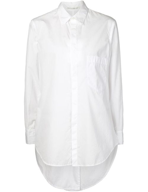 Yohji Yamamoto   Женская Белая Рубашка С Неравномерным Подолом