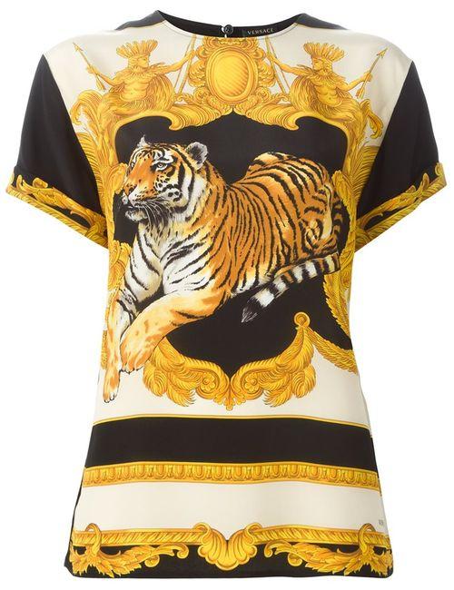 Versace | Женское Черный Baroque Tiger Print Top