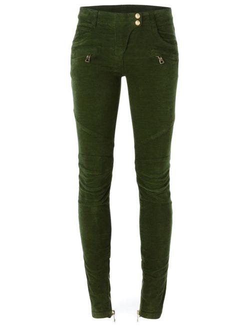 Balmain   Женское Зелёный Velvet Skinny Trousers