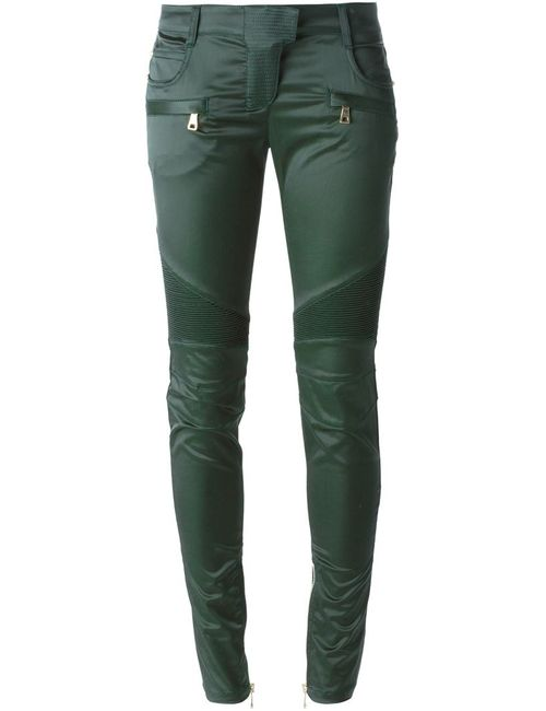Balmain | Женское Зелёный Skinny Biker Trousers