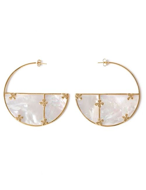 Aurelie Bidermann | Женское Белый Bianca Mother-Of-Pearl Hoop Earrings