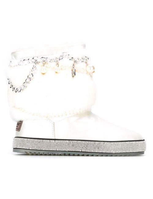 GIANNI RENZI | Женские Белые Декорированные Ботинки С Меховой Отделкой