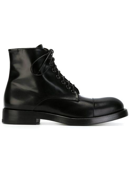 Raparo   Мужские Чёрные Ботинки На Шнуровке