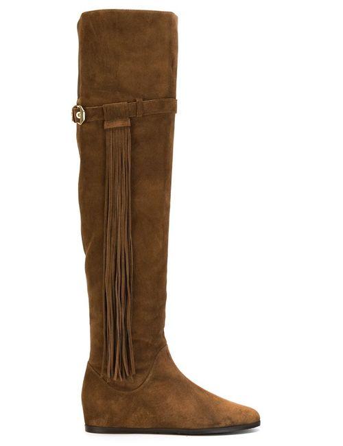 Stuart Weitzman   Женское Коричневый Fringed Detail Knee Length Boots