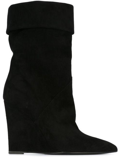 Saint Laurent | Женские Чёрные Ботинки На Танкетке
