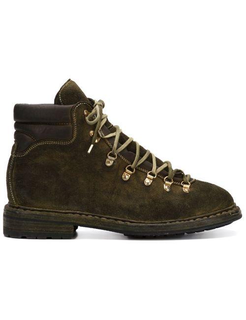 GUIDI | Мужские Зелёные Походные Ботинки На Шнуровке