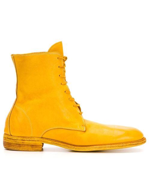 GUIDI   Мужские Жёлтые Ботинки На Шнуровке