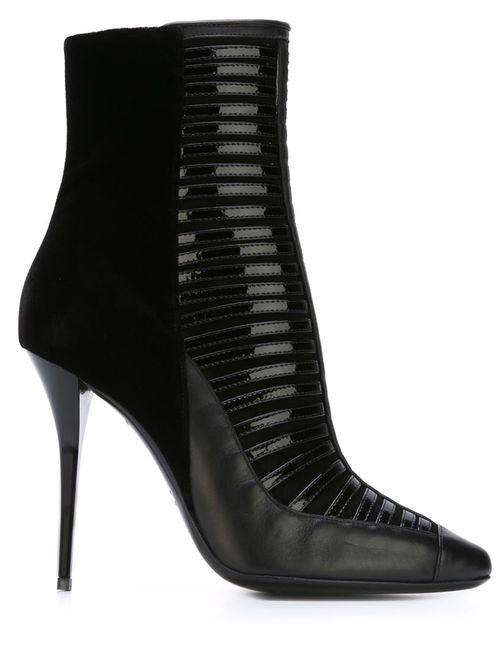 Balmain | Женские Чёрные Ботинки По Щиколотку На Шпильке