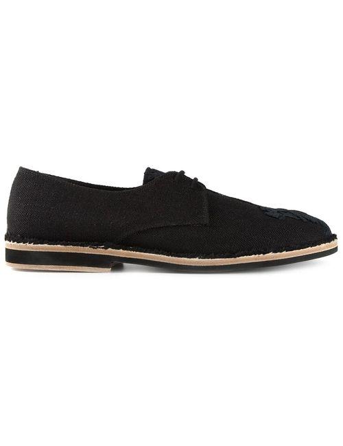 Ann Demeulemeester | Мужские Чёрные Туфли На Шнуровке С Цветочной Вышивкой