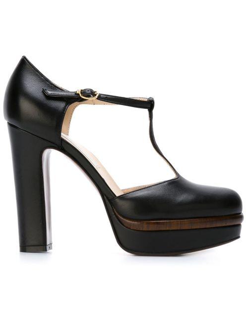 L' Autre Chose | Женские Чёрные Туфли С Т-Образным Ремешком