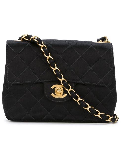 Chanel Vintage | Женская Чёрная Сумка Через Плечо С Стеганым Эффектом