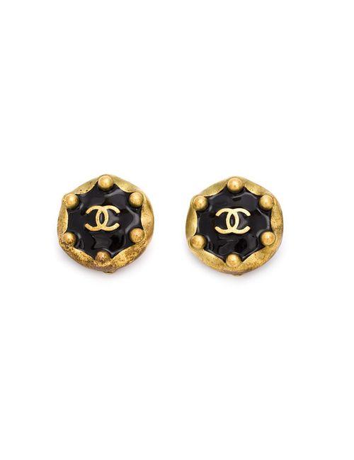 Chanel Vintage | Женское Чёрный Logo Clip-On Earrings