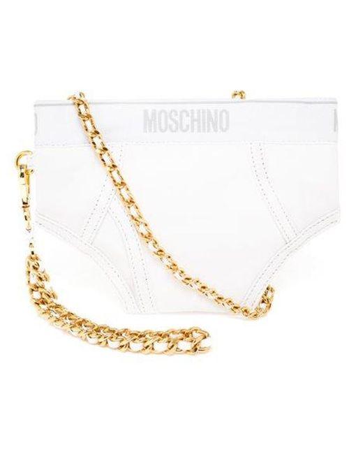 Moschino | Женская Белая Сумка С Леопардовым Принтом
