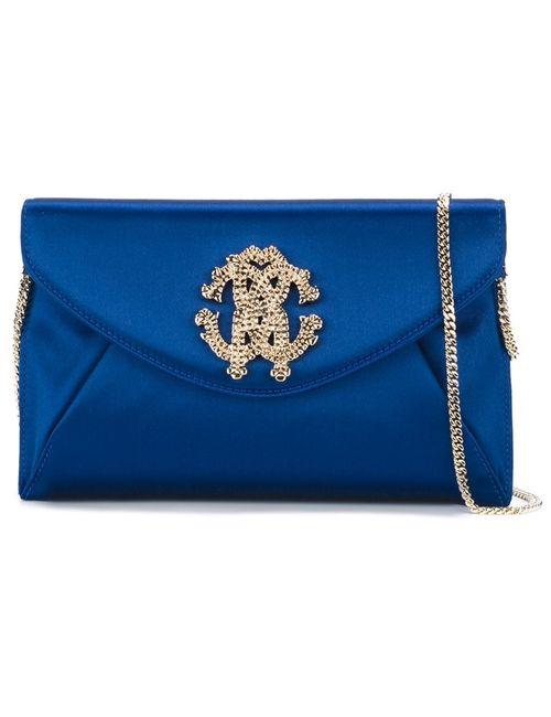 Roberto Cavalli   Женская Синяя Сумка На Плечо С Декорированным Логотипом