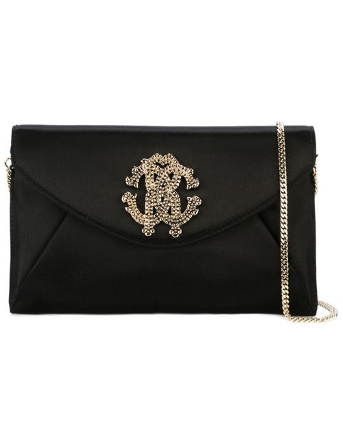Roberto Cavalli | Женское Чёрный Embellished Logo Envelope Clutch