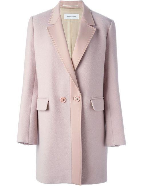 Mauro Grifoni | Женское Розовое Двубортное Пальто С Контрастными Лацканами