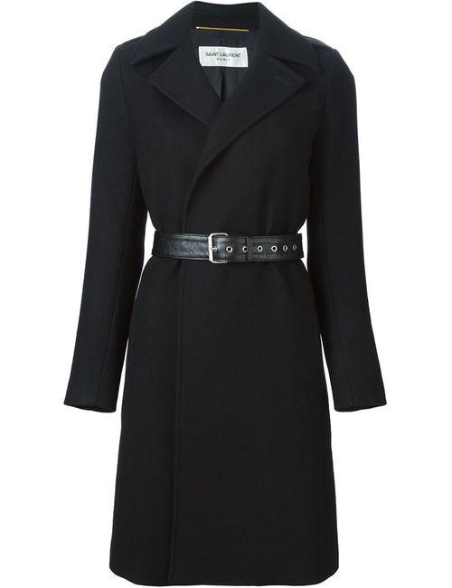 Saint Laurent | Женское Чёрное Пальто С Поясом