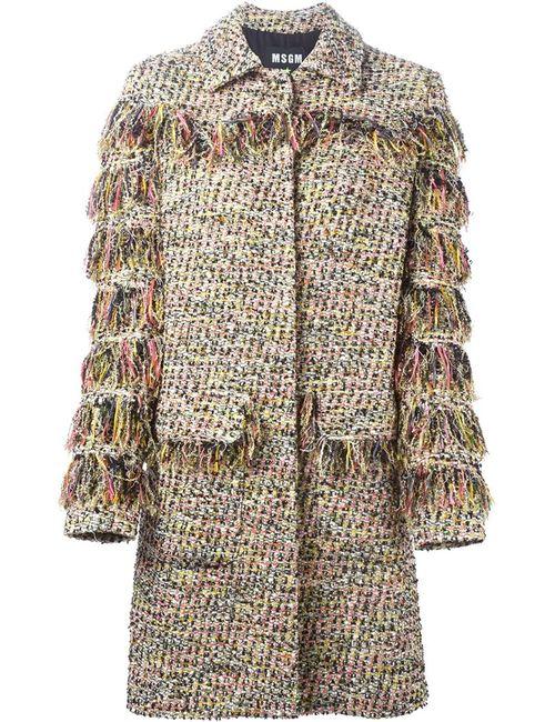 MSGM | Женское Многоцветное Твидовое Пальто С Бахромой
