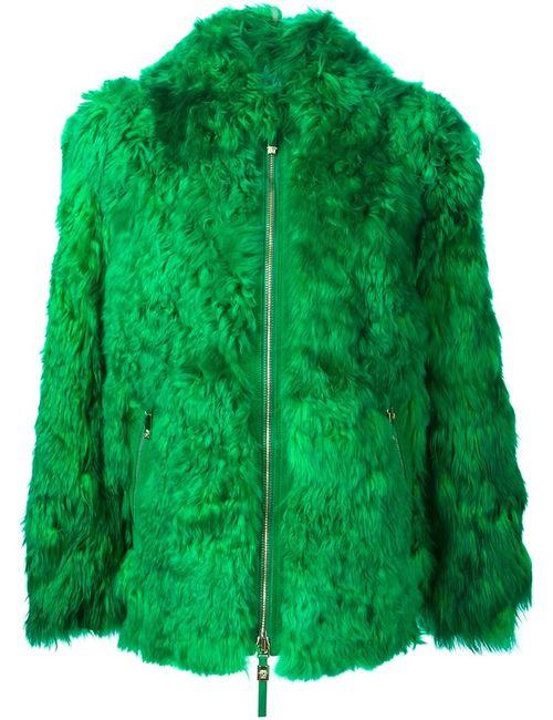 Versace | Женское Зелёное Полупальто На Молнии