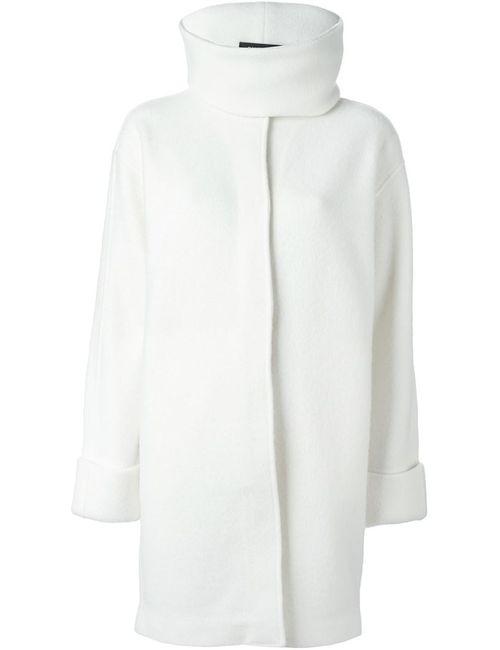 Ralph Lauren Black Label   Женское Белое Пальто С Воротником-Воронкой